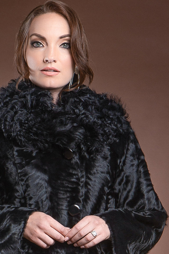 EM-EL Moiré Lamb Mid-Length Fur Coat - 2 Tone Curly Lamb Notch Collar