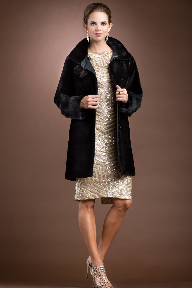 Black Zandra Rhodes Reversible Super Sheared Mink Mid-Length Fur Coat