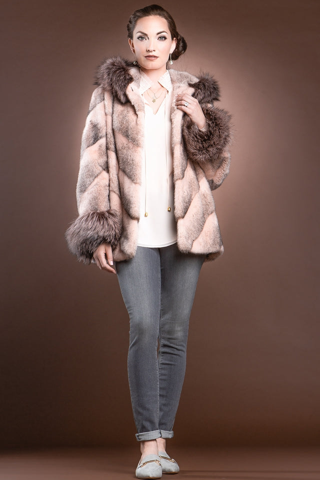 BabyPink Chalue Hooded Directional Chevron Mink Fur Jacket - Fox Fur Hood Trim and Cuffs