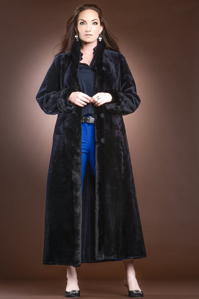 Reversible Sheared and Long Haired Mink Fur Coat