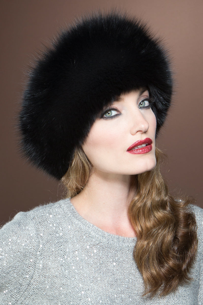 Black Lenore Marshall Sheared Mink and Fox Fur Hat