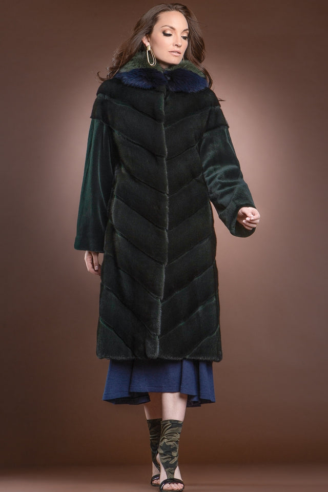 EM-EL Forest Green Long Haired - Sheared Mink Mid-Length Fur Coat - Green and Navy Blue Fox Hood Trim
