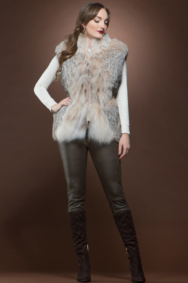 Guy LaRoche Fitted Canadian Lynx and Leather Fur Vest