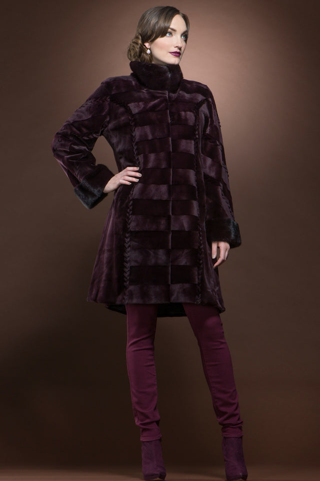 Burgundy Sheared & Long Haired Mink Mid-Length Fur Coat