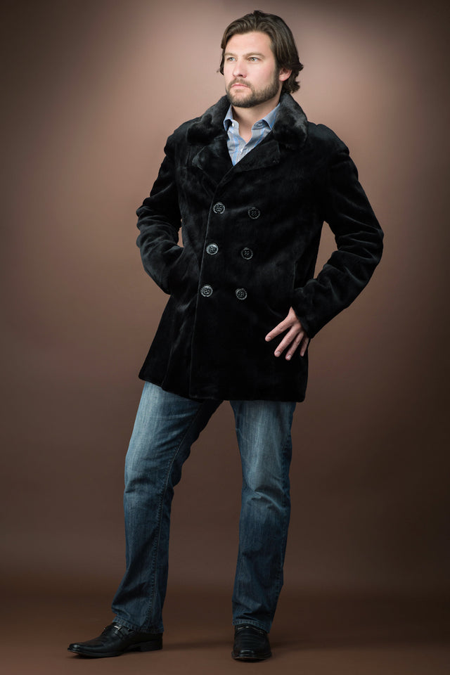 Men's Black Sheared Mink Double Breasted Fur Jacket