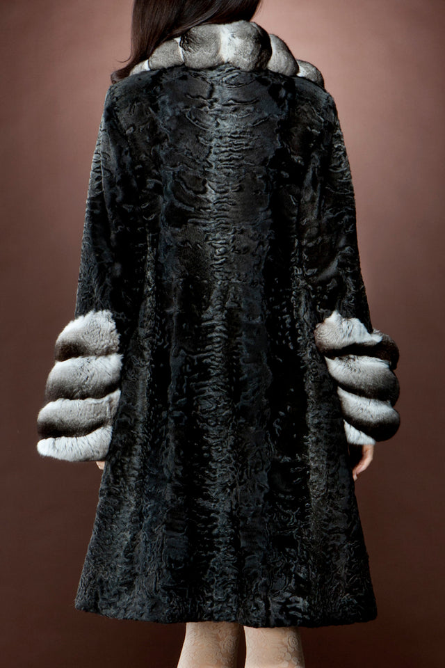 Zandra Rhodes Stardust Swakara and Chinchilla Mid-Length Fur Coat