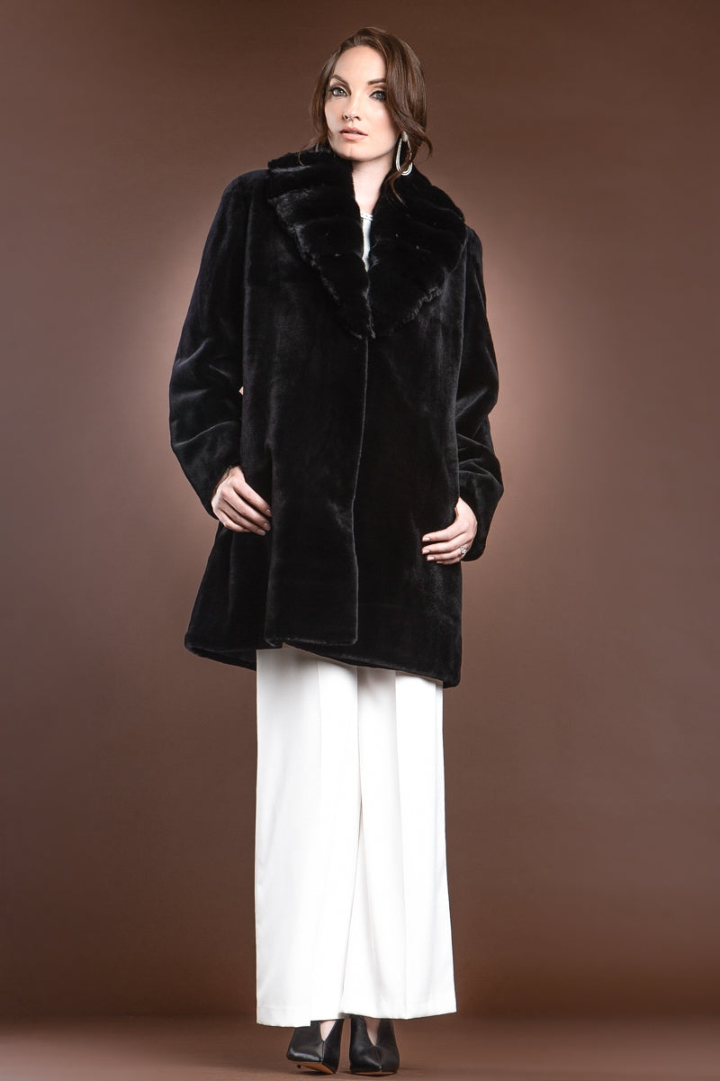 Black EM-EL Reversible Fitted Sheared Mid Length Mink Fur Coat - Chinchilla Shawl Collar