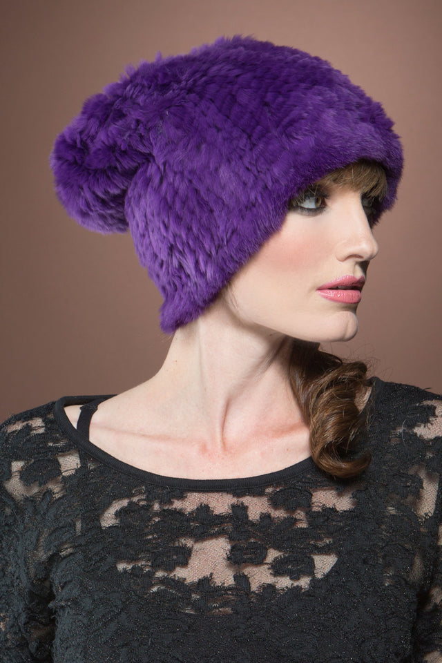 Purple Adrienne Landau Rex Rabbit Knit Fur Hat