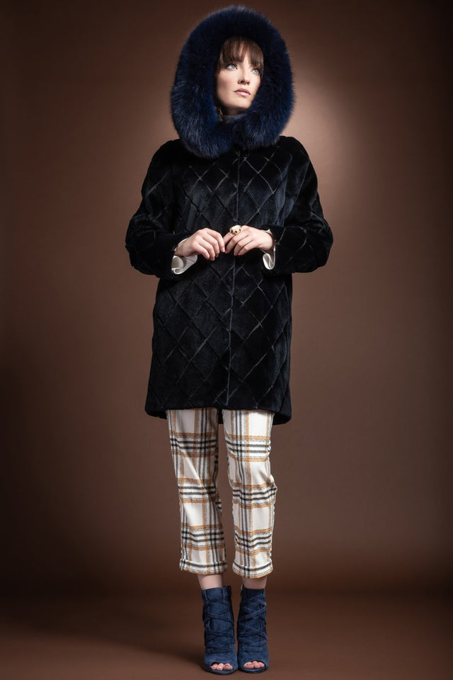 EM-EL Navy Blue Hooded Fox Fur Trimmed Sueded Diamond Pattern Mid Length Sheared Mink Fur Coat
