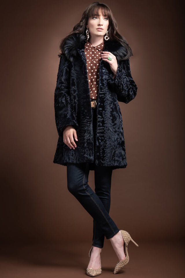 EM-EL Navy Blue Hooded Fox Fur Trimmed A-Line Mid Length Karakul Fur Coat