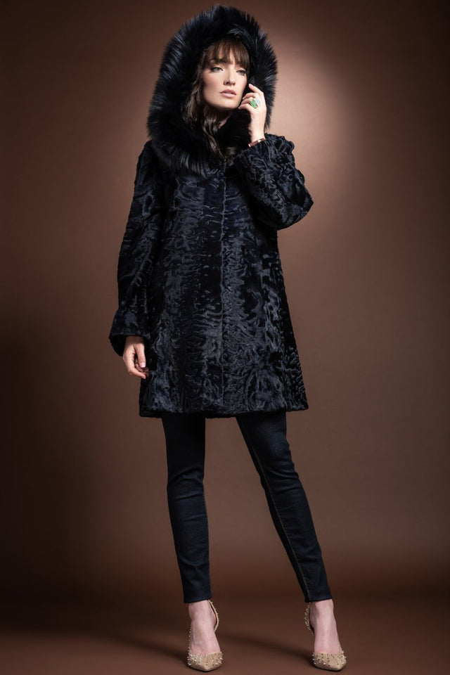 Navy Blue Hooded Fox Fur Trimmed A-Line Mid Length Karakul Fur Coat