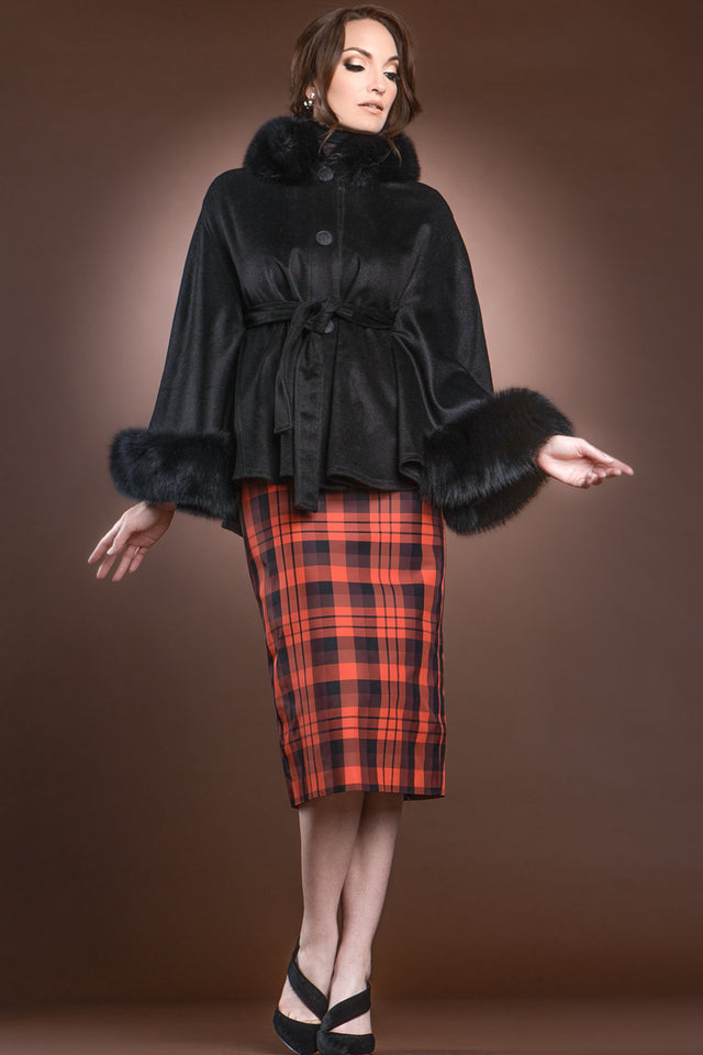 Button Front Cape with Fox Collar