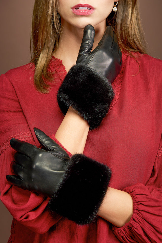 Leather Gloves - Natural Mink Fur Trim