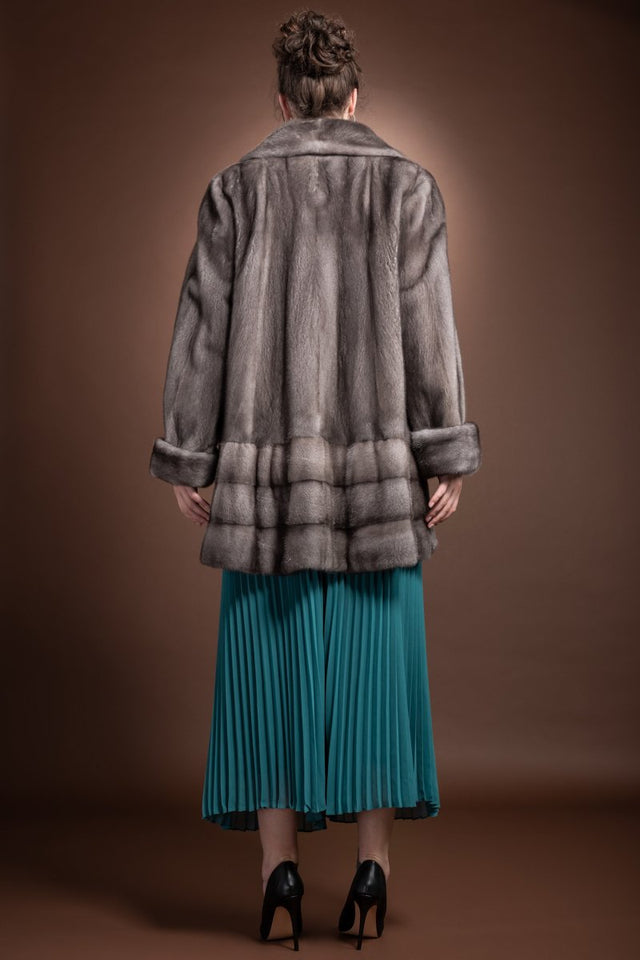 BlueIris EM-EL Blue Iris Mink Mid-Length Fur Coat Shawl Collar - Horizontal Bottom Border - Plus Size
