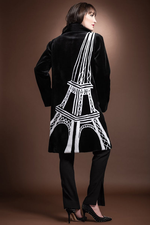 Black Intarsia Eiffel Tower Design Mid Length Sheared Mink Fur Coat