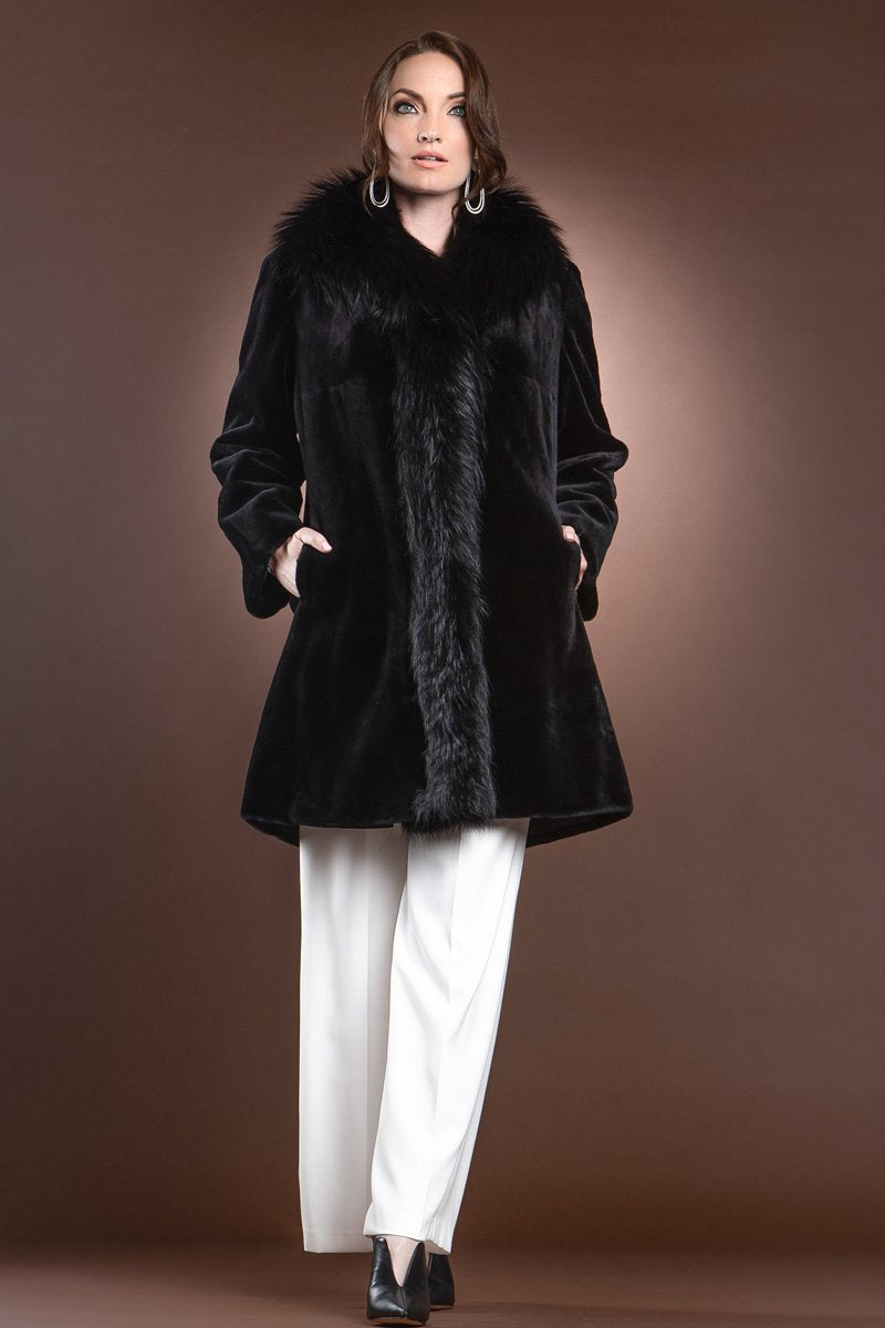Black EM-EL Reversible Fitted Sheared Mid Length Mink and Fox Fur Coat