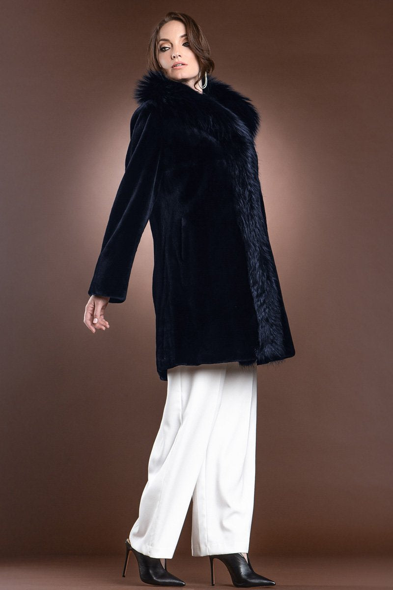NavyBlue EM-EL Reversible Fitted Sheared Mid Length Mink and Fox Fur Coat