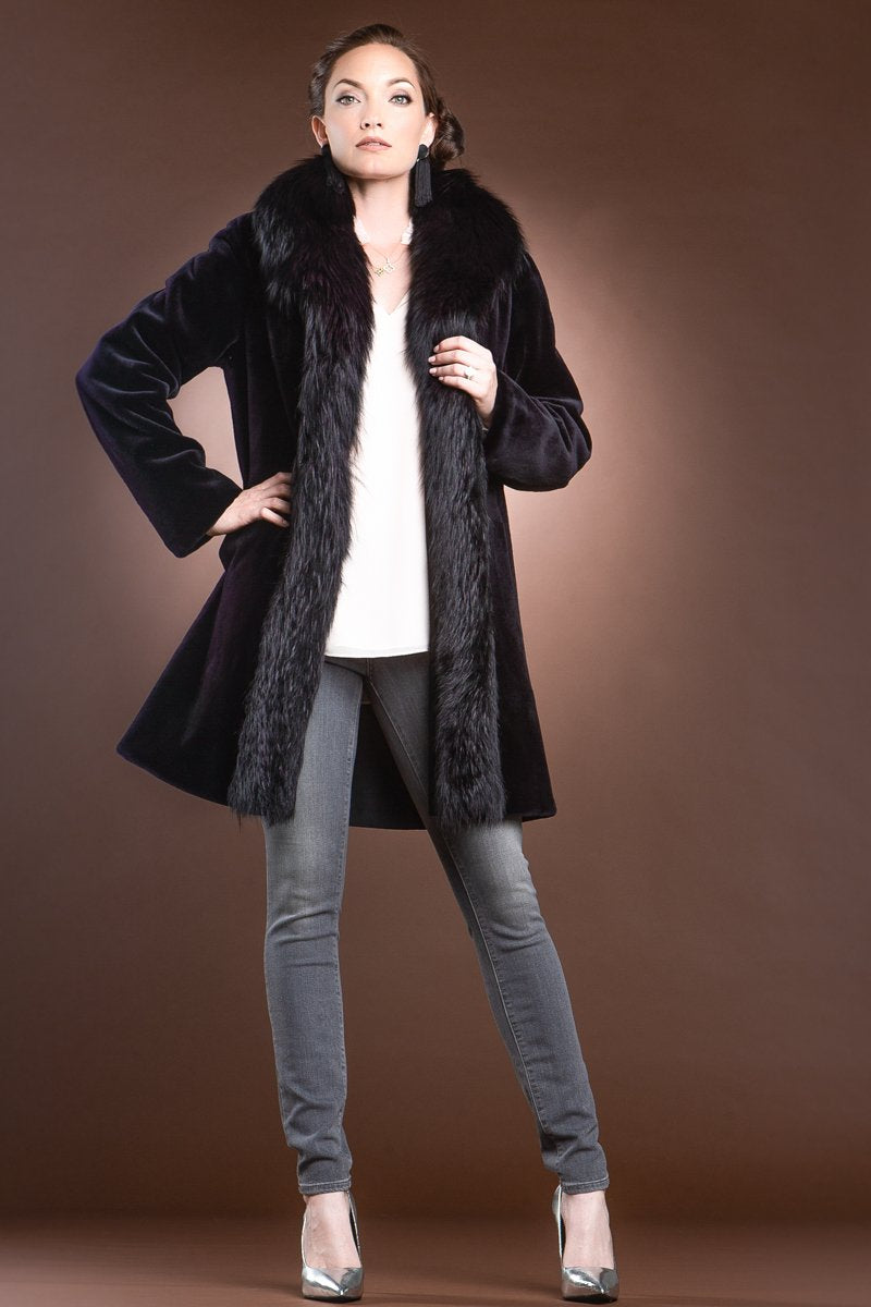Burgundy EM-EL Reversible Fitted Sheared Mid Length Mink and Fox Fur Coat
