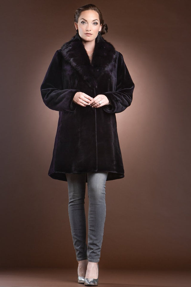 Fitted Reversible Sheared Mink and Sable Fur Coat
