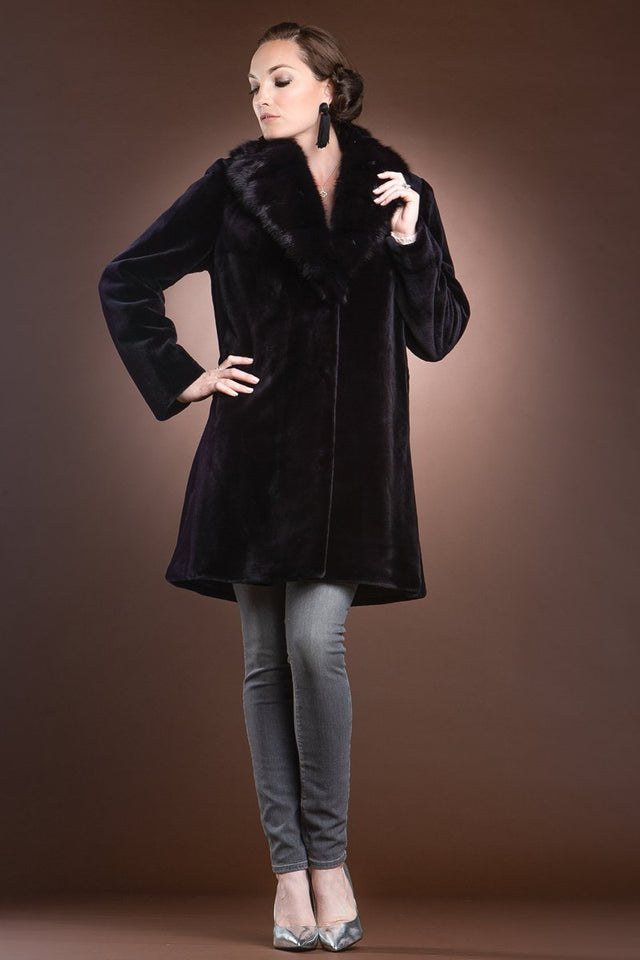 EM-EL Fitted Reversible Plum Purple Sheared Mink and Sable Fur Coat