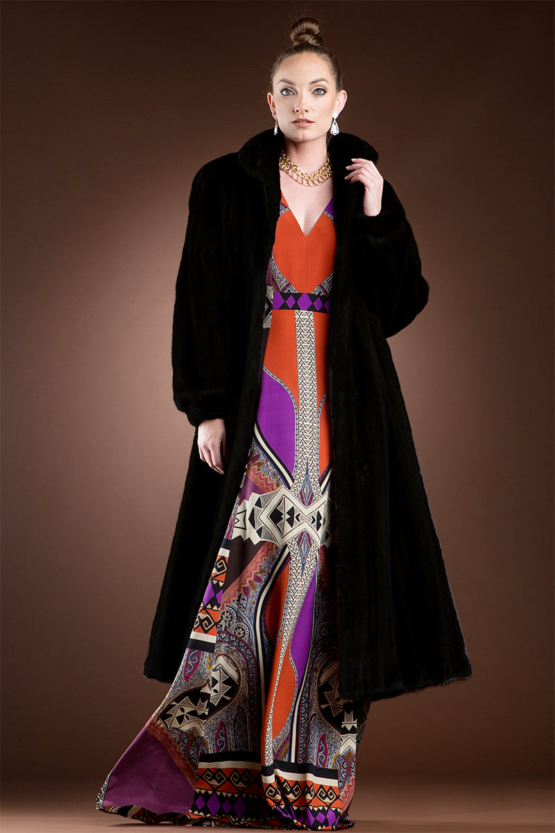 Ranch EM-EL Mink Fur Coat - Wing Collar - Banded Cuffs