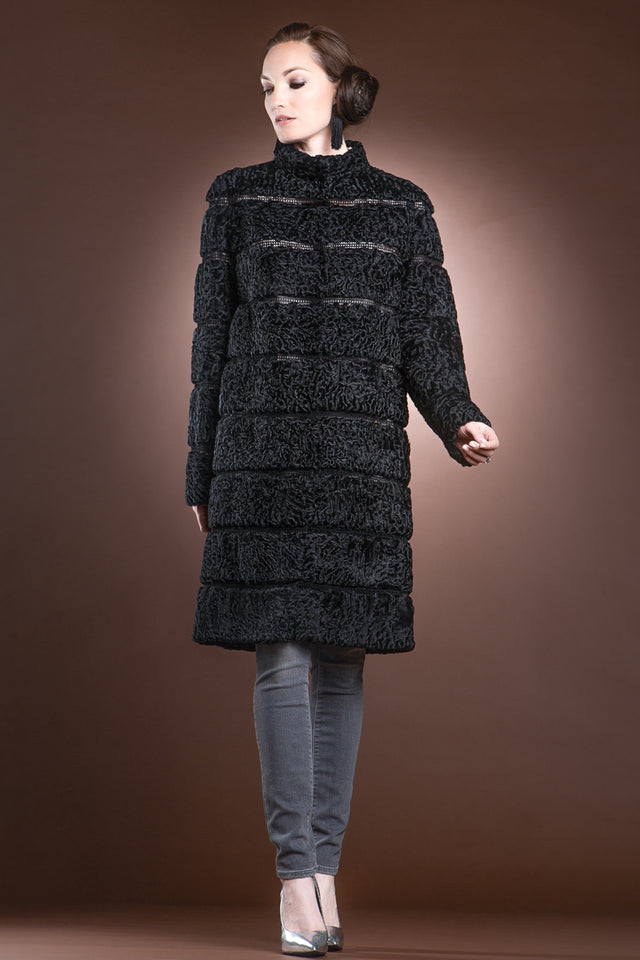 Black Reversible Horizontal Swakara Mid-Length Fur Coat - Netting Detail