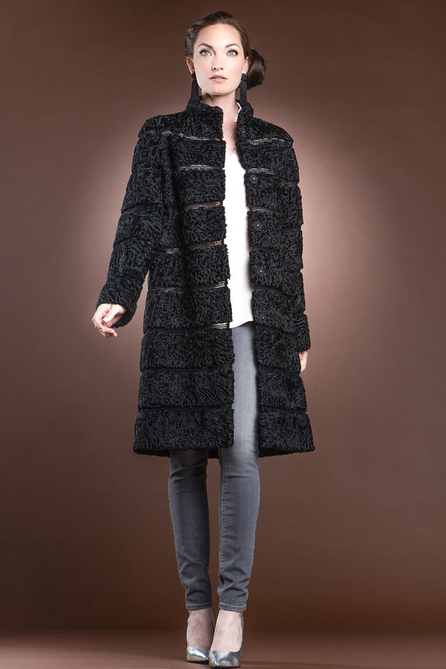 Zandra Rhodes Black Reversible Horizontal Swakara Mid-Length Fur Coat - Netting Detail