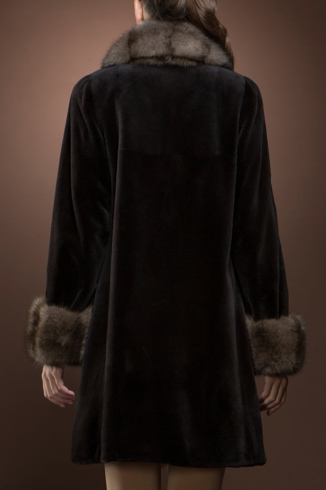 Reversible Brown Sheared Mink and Sable Mid-Length Fur Coat