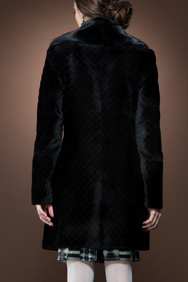 Zandra Rhodes Black Sheared Mink Quilted Fur Pea Coat