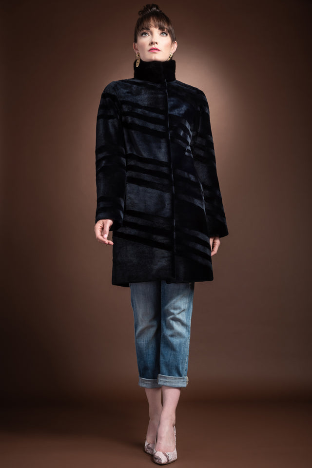 Reversible Sheared & Long Haired Mink Diagonal Mid-Length Fur Coat