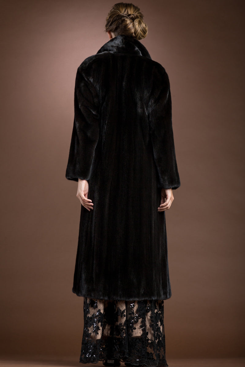 Ranch Zandra Rhodes Natural Mink Fur Coat - Wing Collar - Straight Sleeve