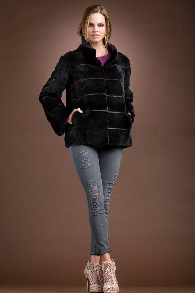 Black Plucked Mink Zippered Fur Jacket
