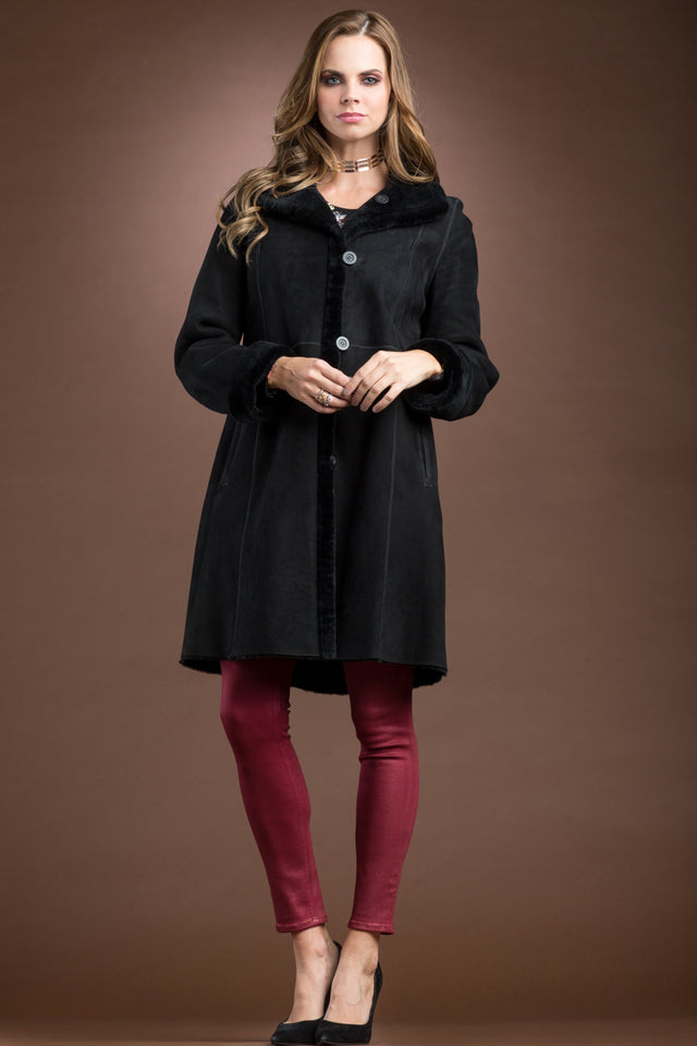 Spanish Noir Reversible Mid-Length Shearling Coat