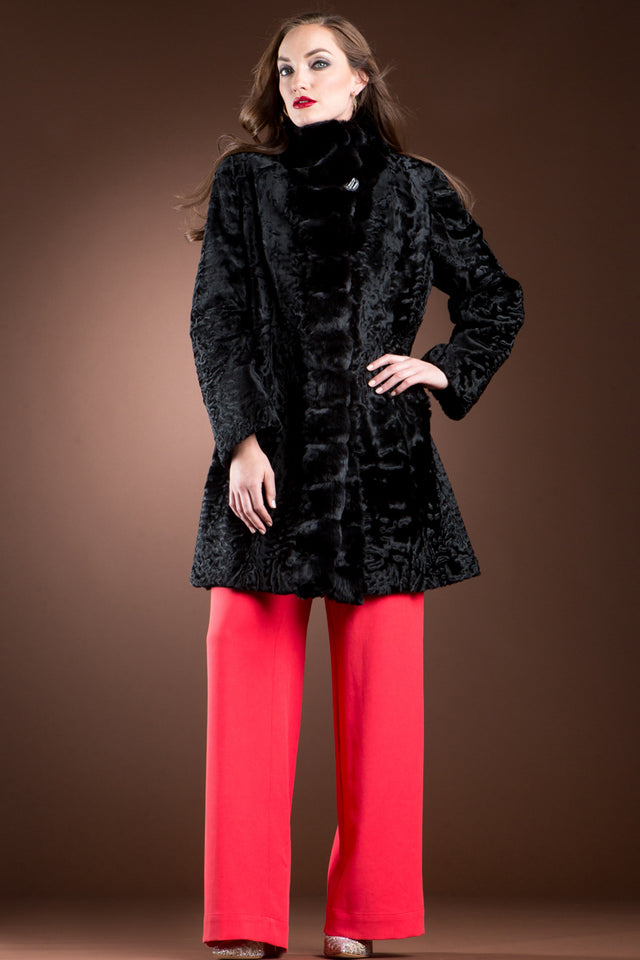 Reversible Black Swakara and Chinchilla Fitted Mid-Length Fur Coat