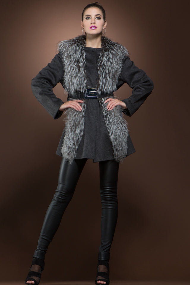 Silver Fox & Charcoal Gray Mid-Length Cashmere Coat