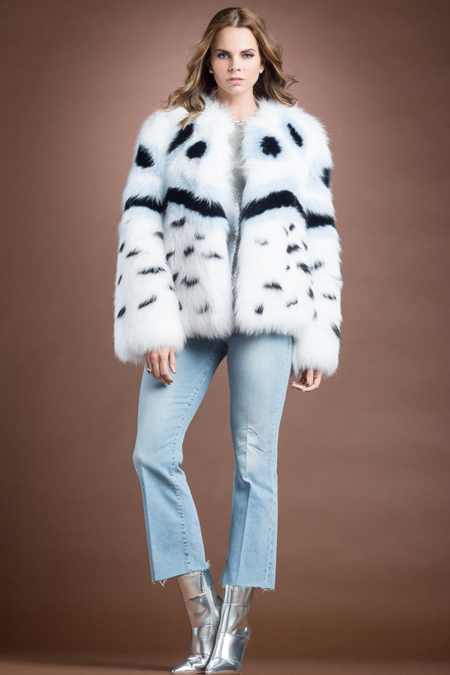 EM-EL Multi-Color Fendi Fox Style Fur Jacket