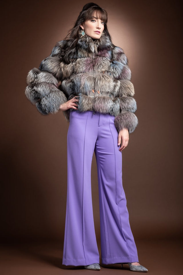 EM-EL Multi Color Fantasy Silver Fox - Houndstooth Fabric Fur Jacket