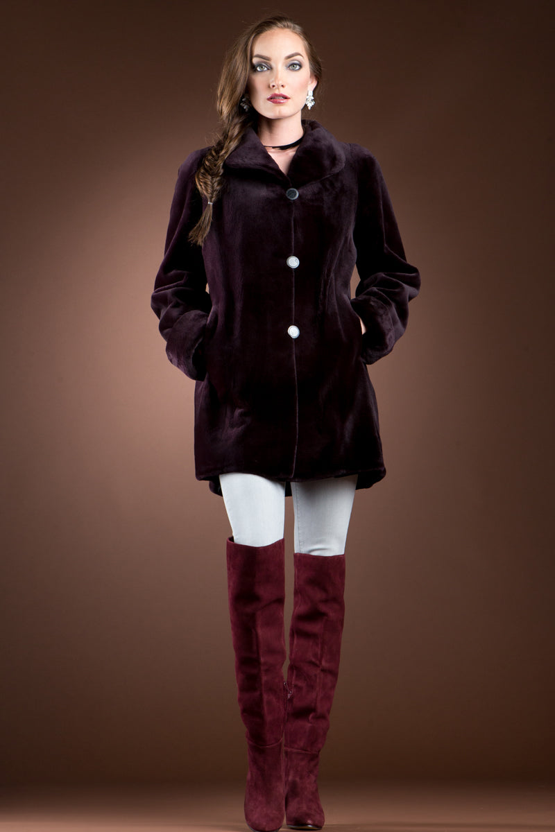 Burgundy EM-EL Reversible Sheared Mink Mid-Length Fur Coat - Wing Collar - TB Cuff