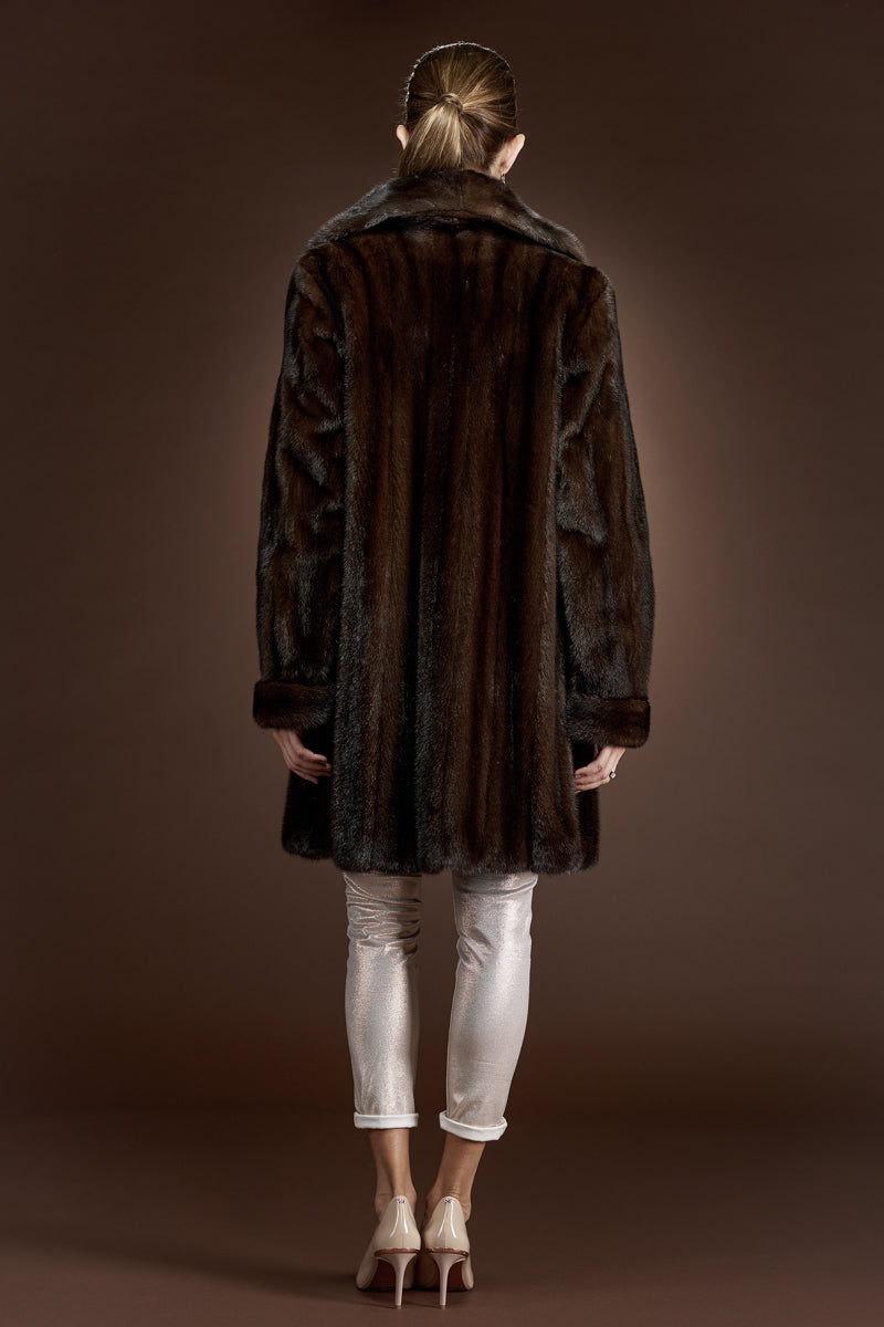 Mahogany EM-EL Mid-Length Mink Fur Coat - Shawl Collar - Turn Back Cuffs