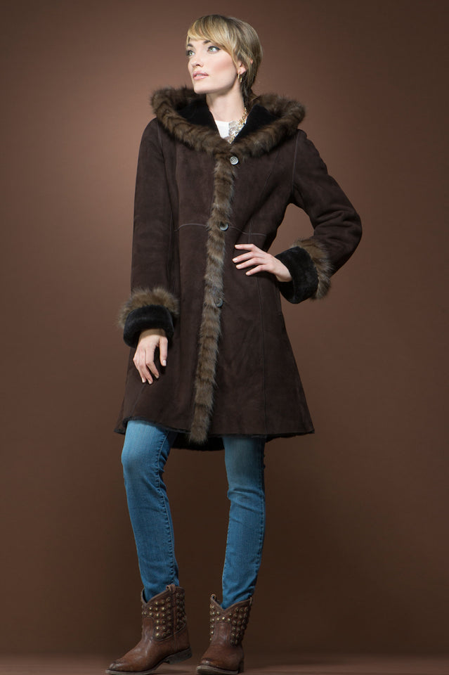 Reversible Spanish Brown Sable - Shearling Coat