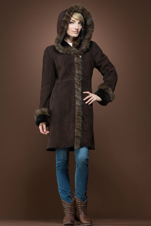 Brown Spanish Sable Fur Trimmed Shearling Coat