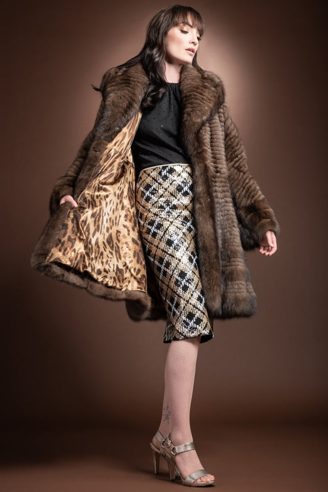 EM-EL Natural Russian Caviar Feathered Sable Fur Coat