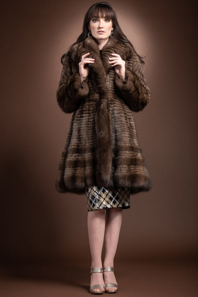 Natural Russian Caviar Feathered Sable Fur Coat