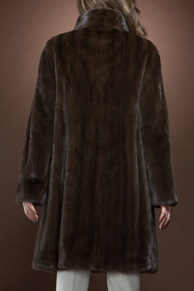 EM-EL Chestnut Brown Mid-Length Fur Coat