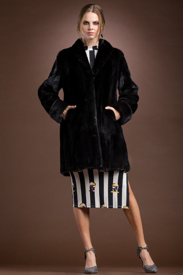 Mid-Length Mink Fur Coat - Shawl Collar - Turn Back Cuffs