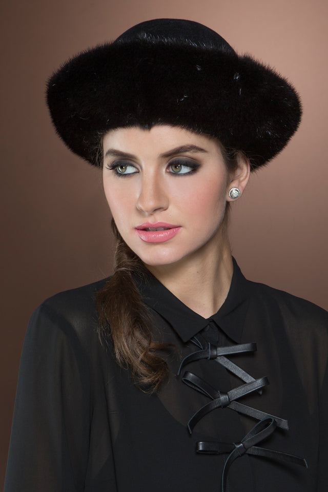 Small Brim Ranch Mink and Velour Fur Hat