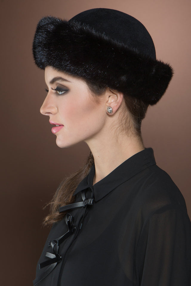 Black Lenore Marshall Small Brim Ranch Mink and Velour Fur Hat