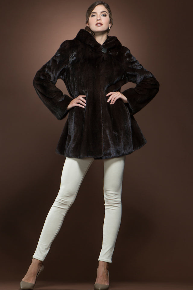 Brown Anamoda Natural Mink Shaped Fur Jacket
