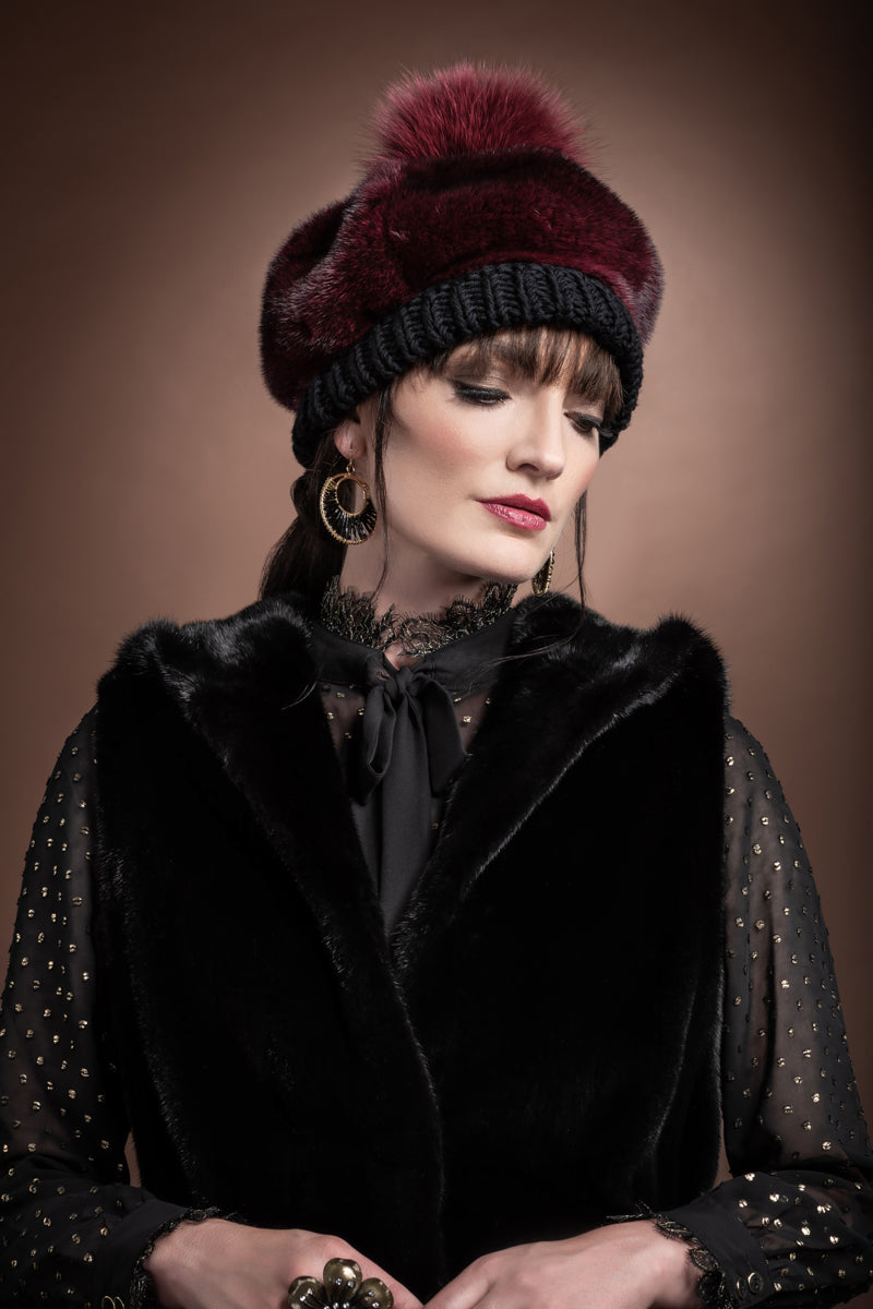 Burgundy Lenore Marshall Perforated Mink Beanie Hat-Mink Fur Pom Pom