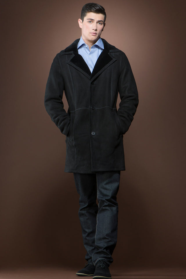 Men's Spanish Black Trench Mid-Length Shearling Coat